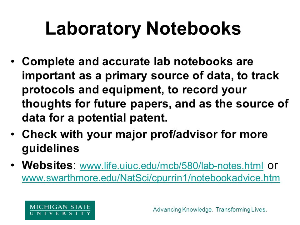 Laboratory Notebooks