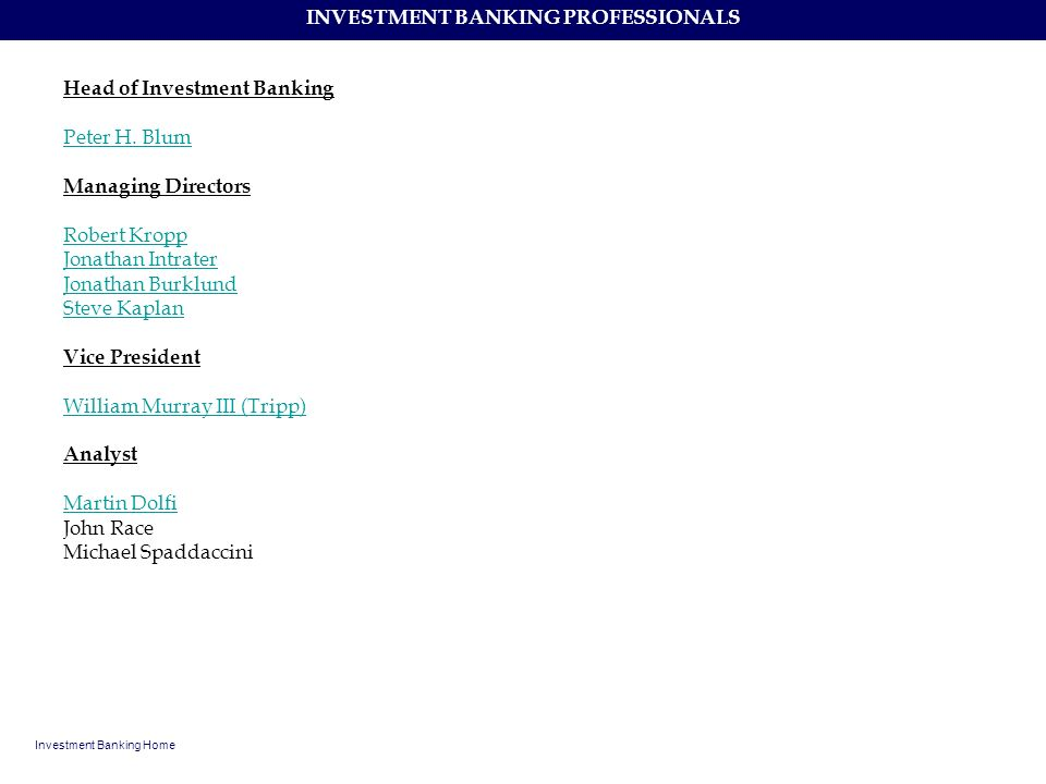 INVESTMENT BANKING PROFESSIONALS
