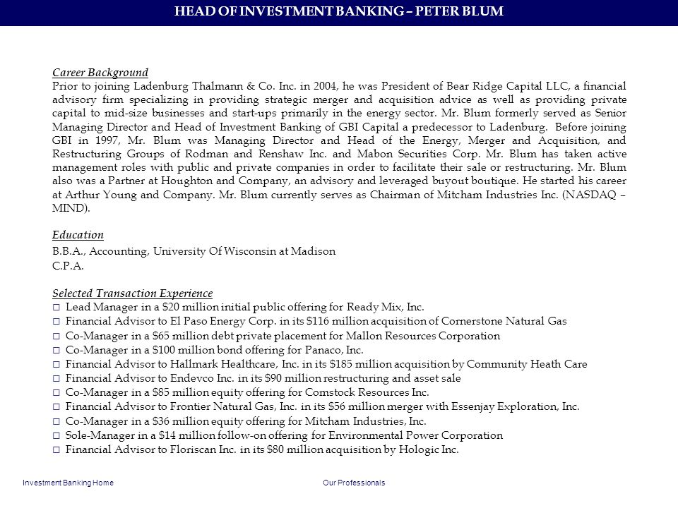 HEAD OF INVESTMENT BANKING – PETER BLUM