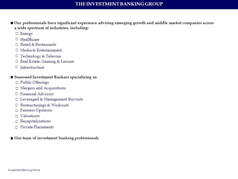 THE INVESTMENT BANKING GROUP