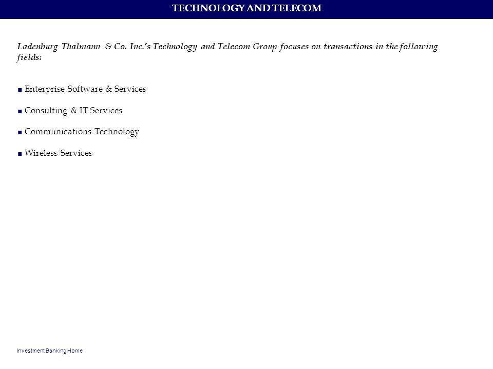 TECHNOLOGY AND TELECOM