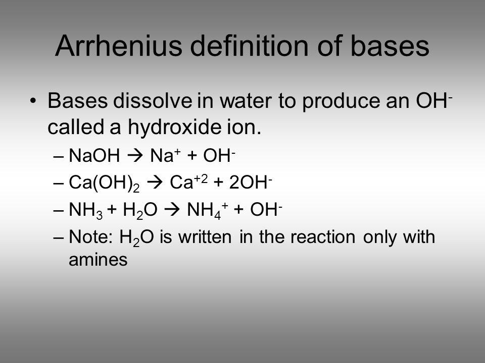 Arrhenius definition of bases