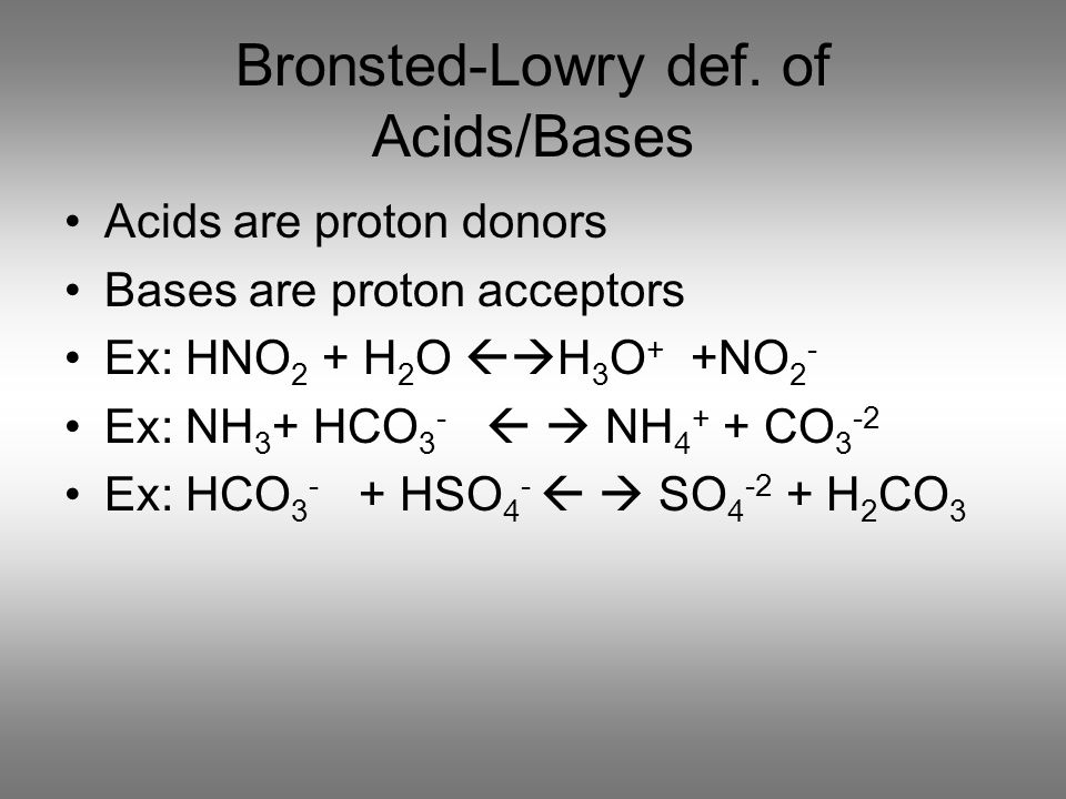 Bronsted-Lowry def. of Acids/Bases