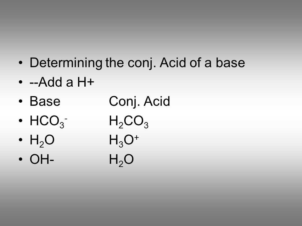 Determining the conj. Acid of a base