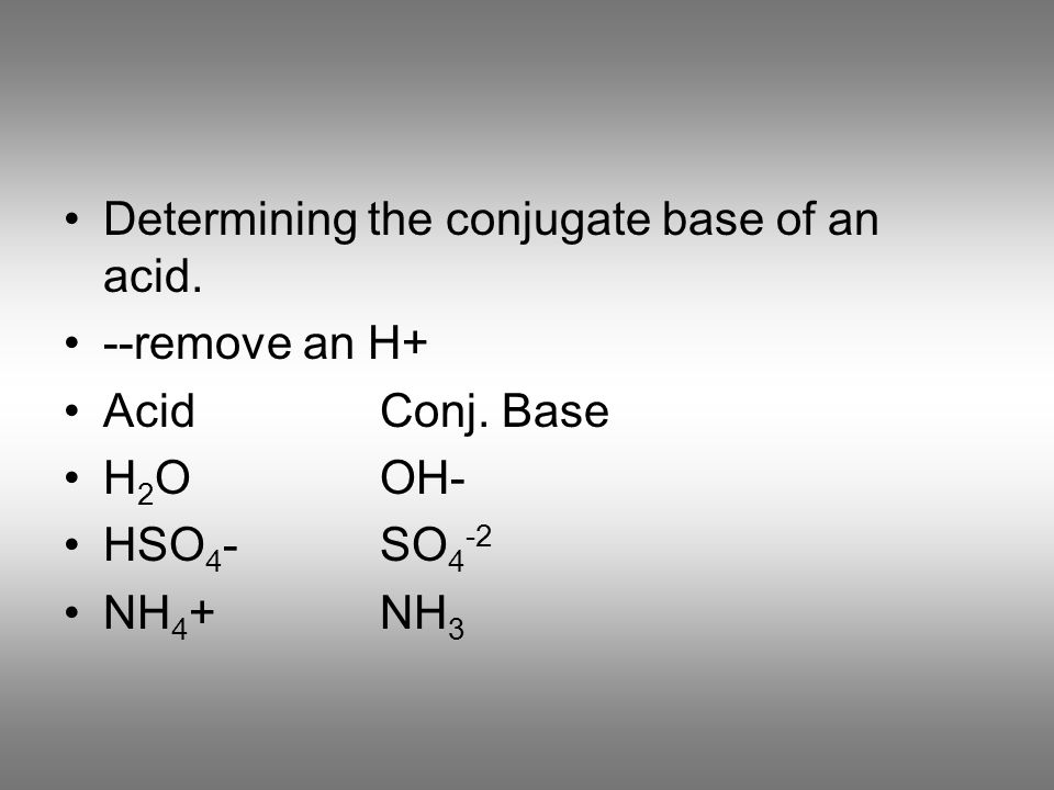 Determining the conjugate base of an acid.
