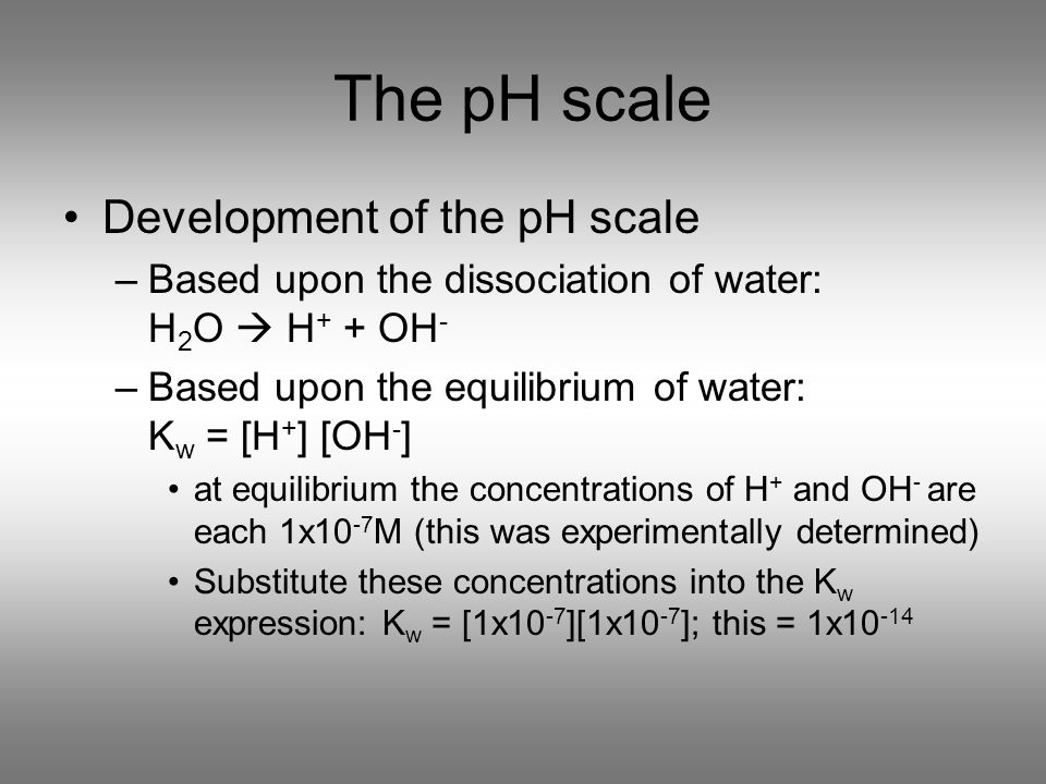 The pH scale Development of the pH scale