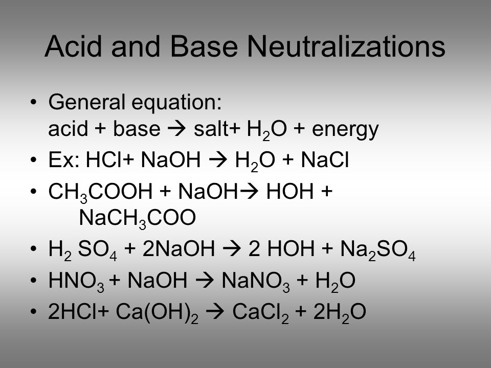 Acid and Base Neutralizations