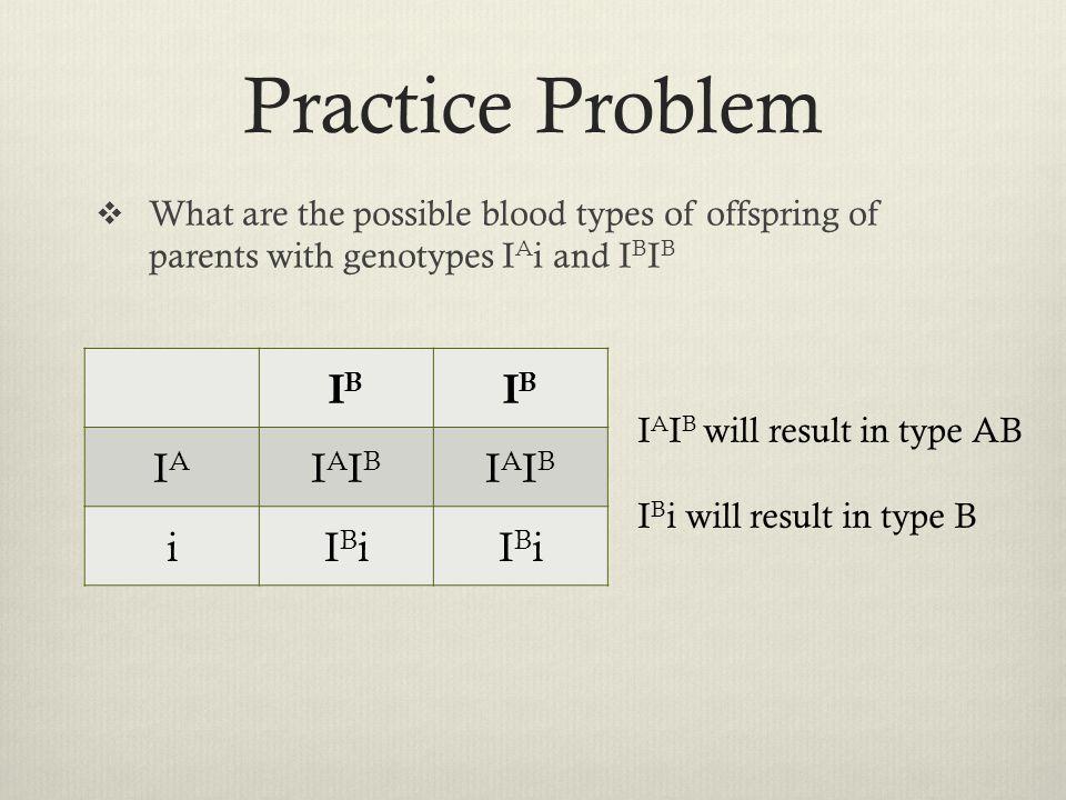 Practice Problem IB IA IAIB i IBi
