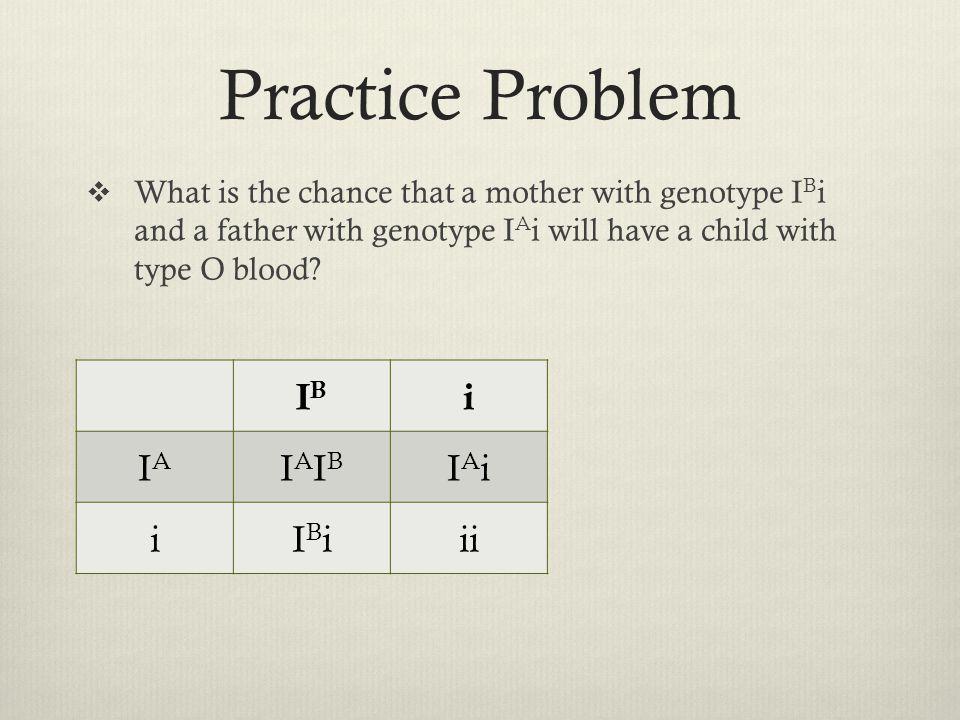 Practice Problem IB i IA IAIB IAi IBi ii