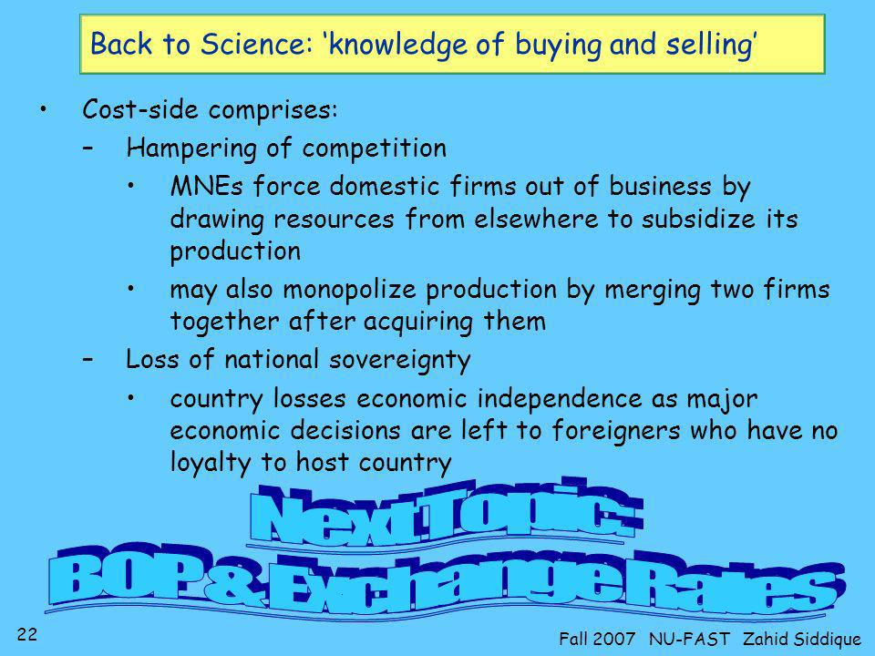 Back to Science: 'knowledge of buying and selling'