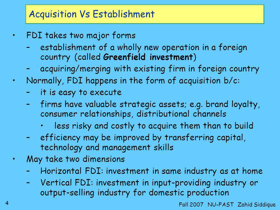 Acquisition Vs Establishment