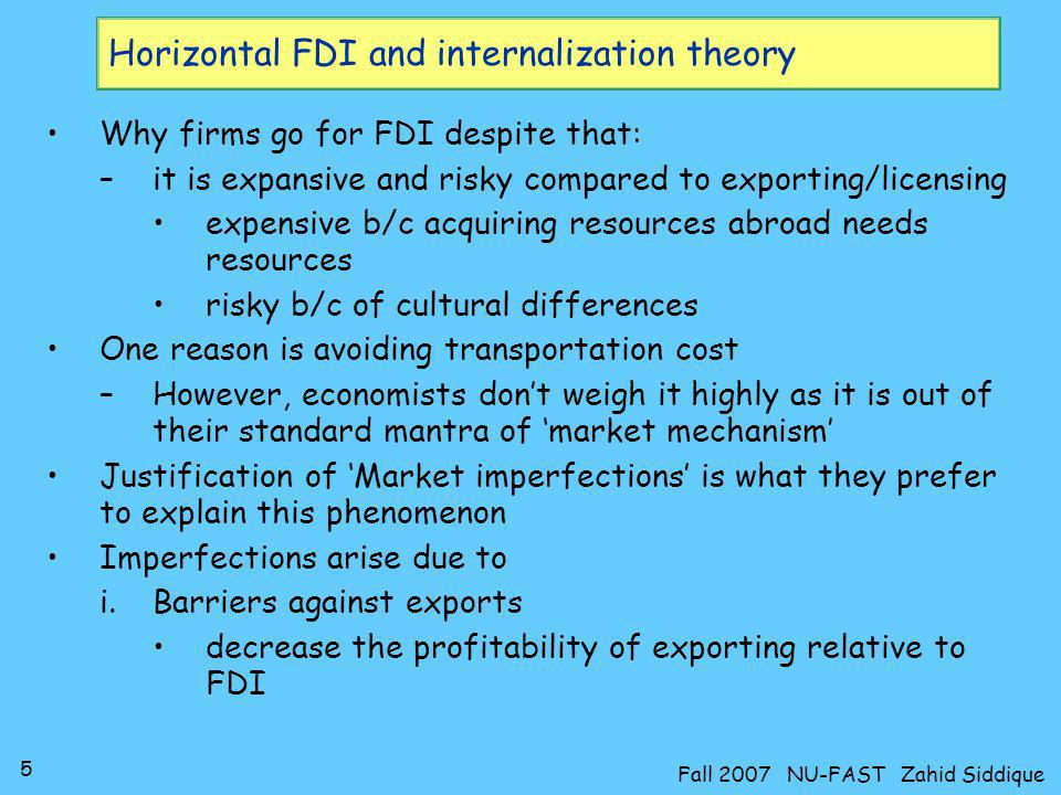 Horizontal FDI and internalization theory
