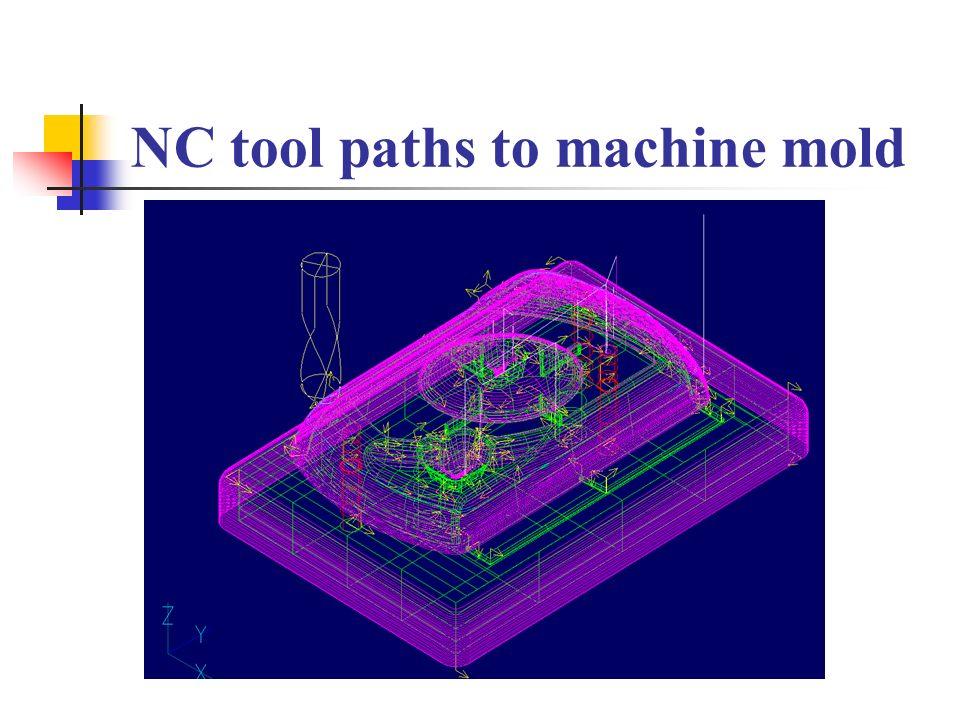 NC tool paths to machine mold
