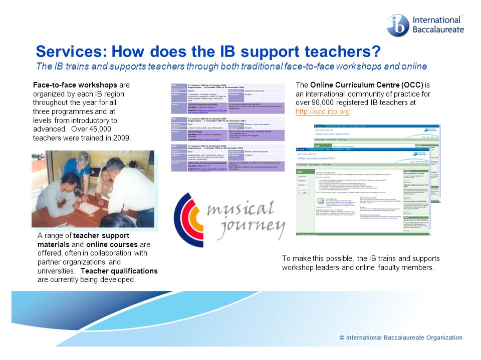 Services: How does the IB support teachers