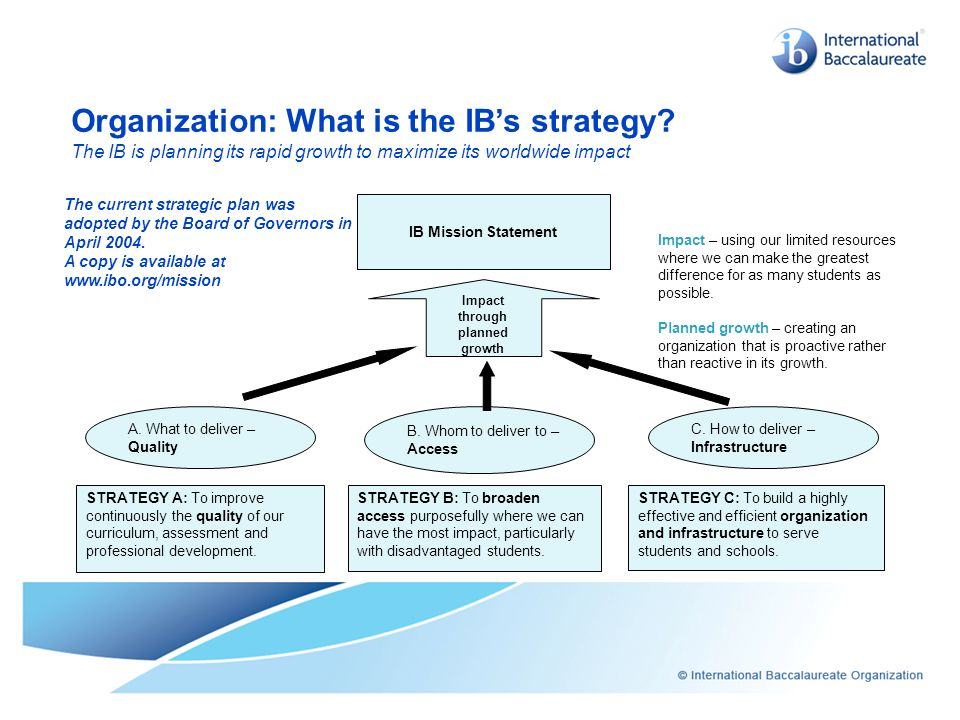 Organization: What is the IB's strategy