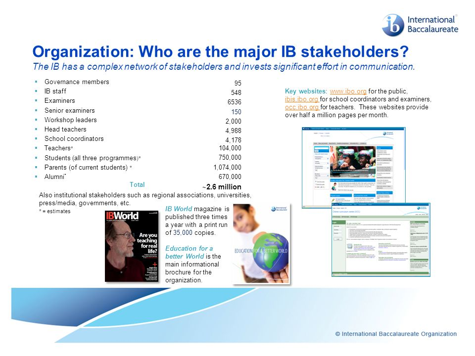 Organization: Who are the major IB stakeholders