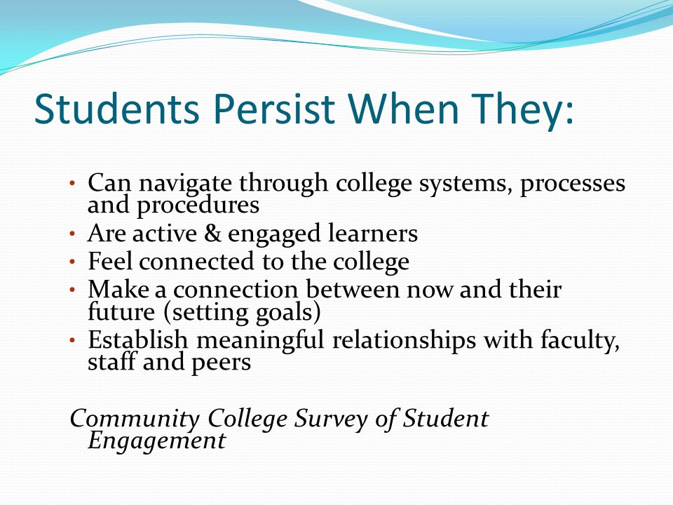 Students Persist When They: