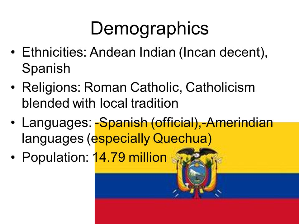 Demographics Ethnicities: Andean Indian (Incan decent), Spanish