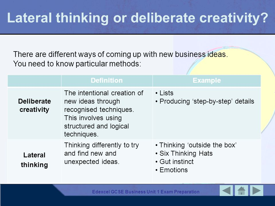 Lateral thinking or deliberate creativity