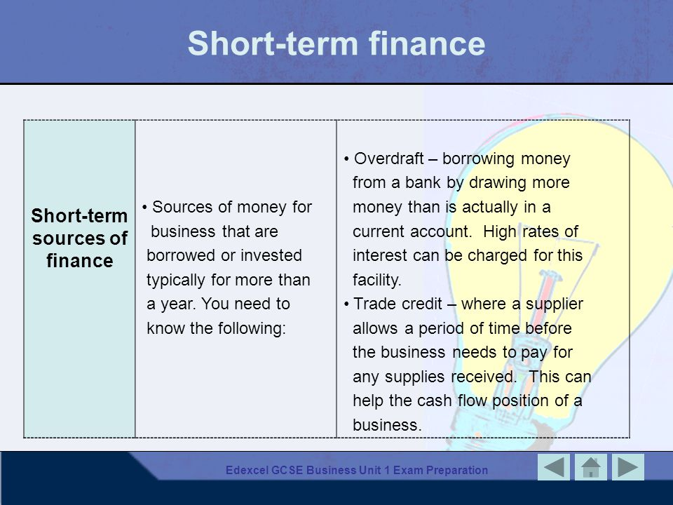 Short-term finance Short-term sources of finance Sources of money for