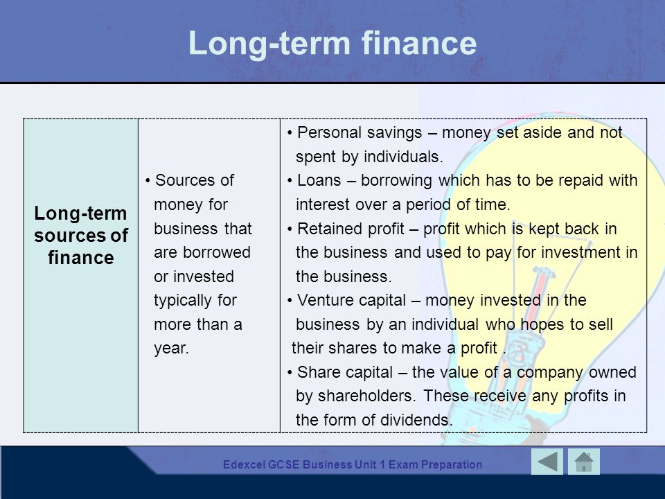 Long-term finance Long-term sources of finance Sources of money for