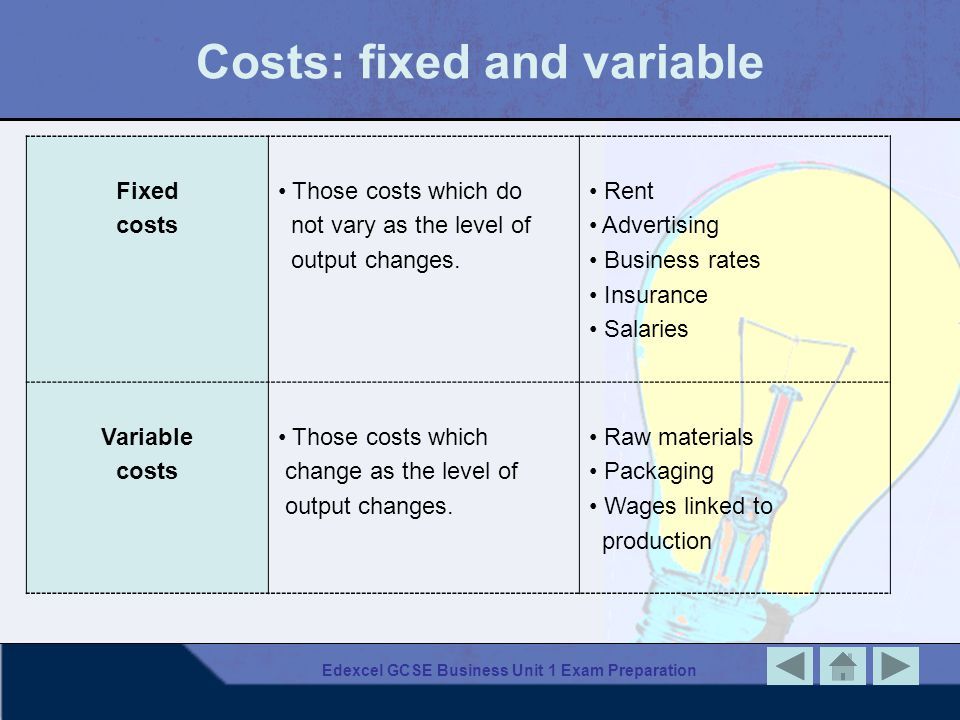 Costs: fixed and variable