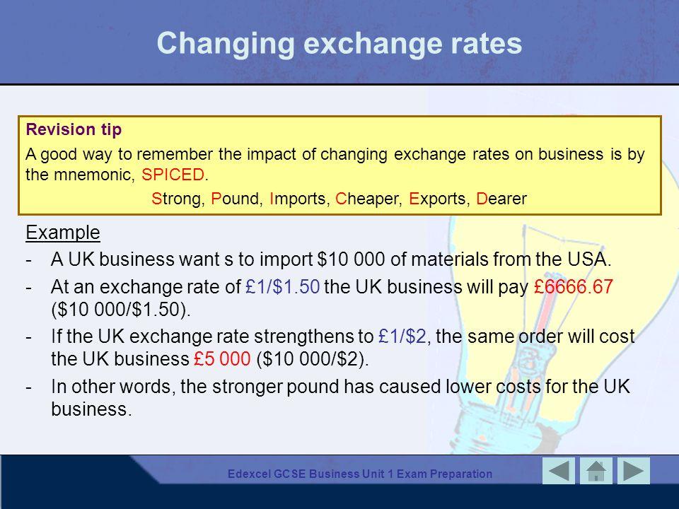 Changing exchange rates
