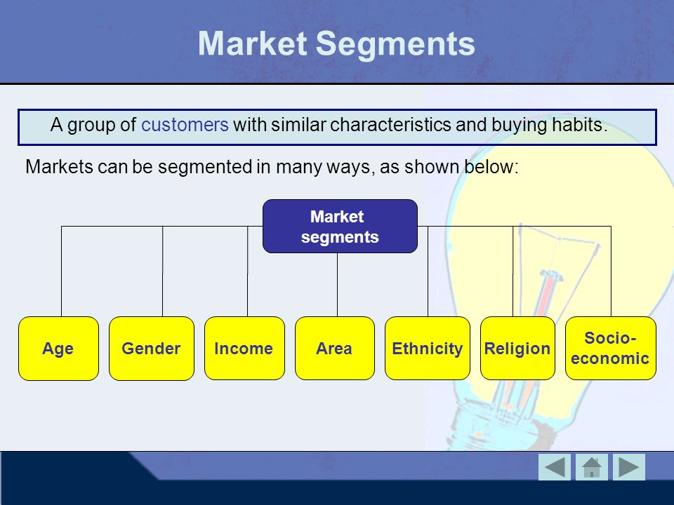 Market Segments A group of customers with similar characteristics and buying habits. Markets can be segmented in many ways, as shown below: