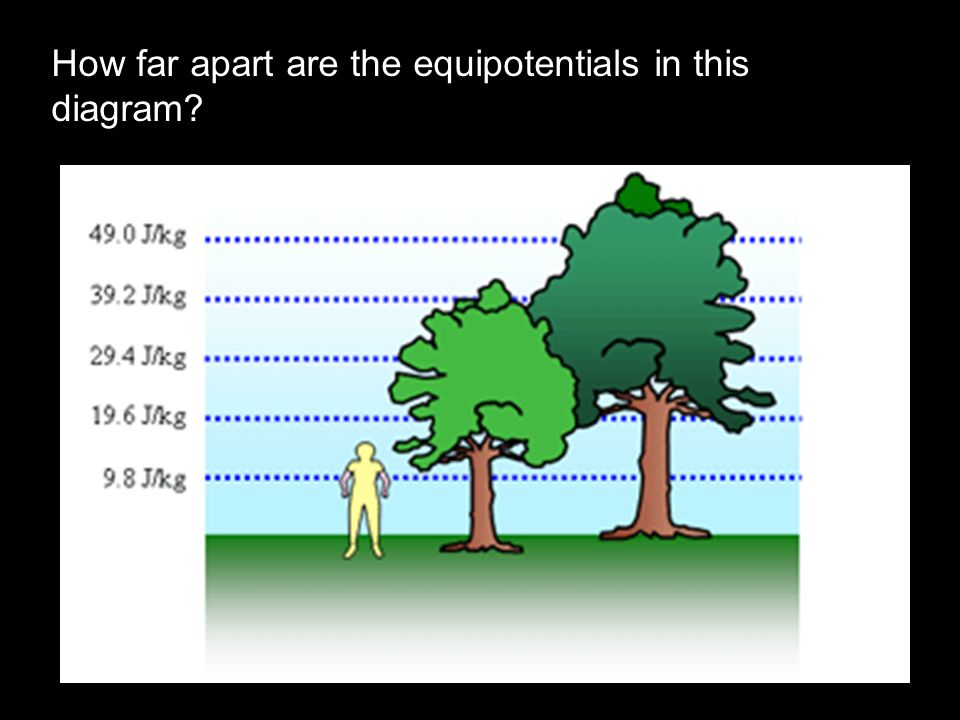 How far apart are the equipotentials in this diagram