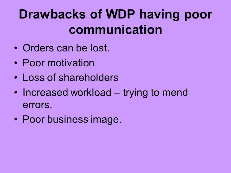 Drawbacks of WDP having poor communication