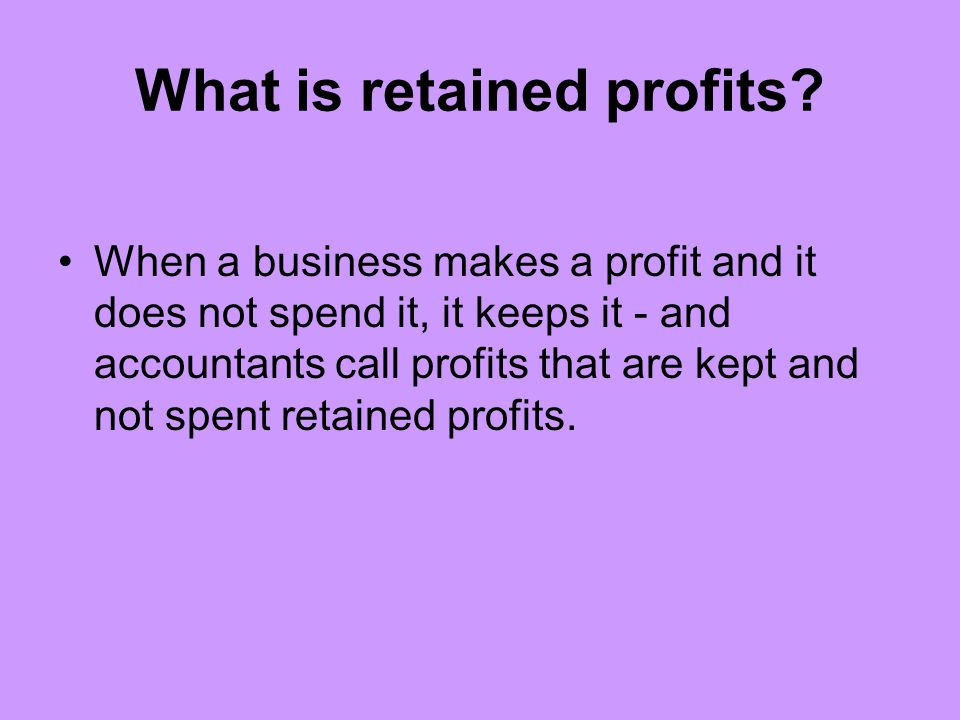 What is retained profits