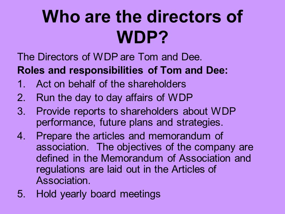 Who are the directors of WDP