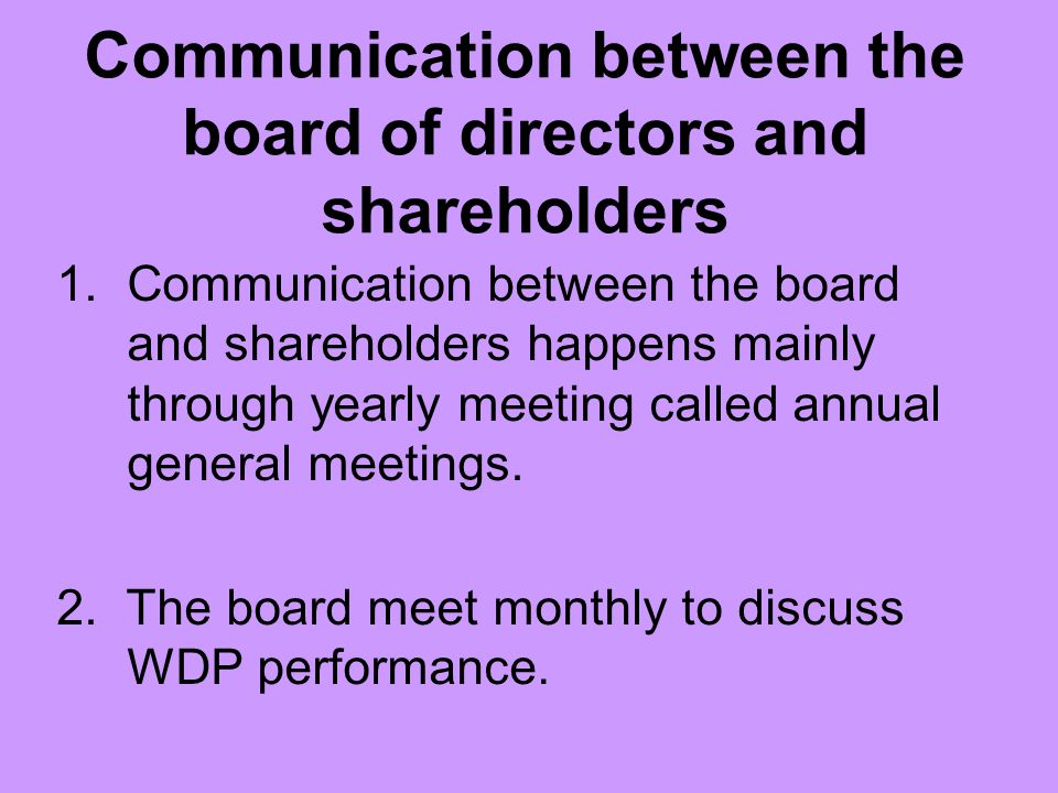 Communication between the board of directors and shareholders