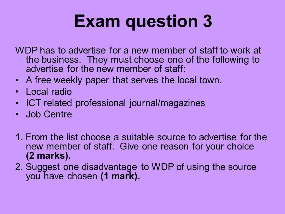 Exam question 3