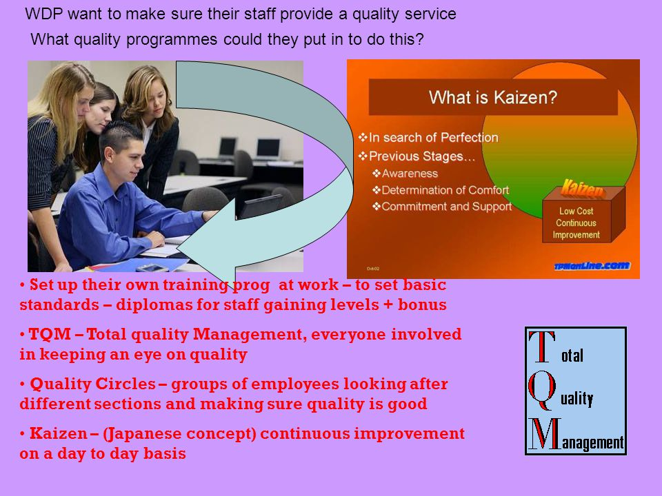 WDP want to make sure their staff provide a quality service