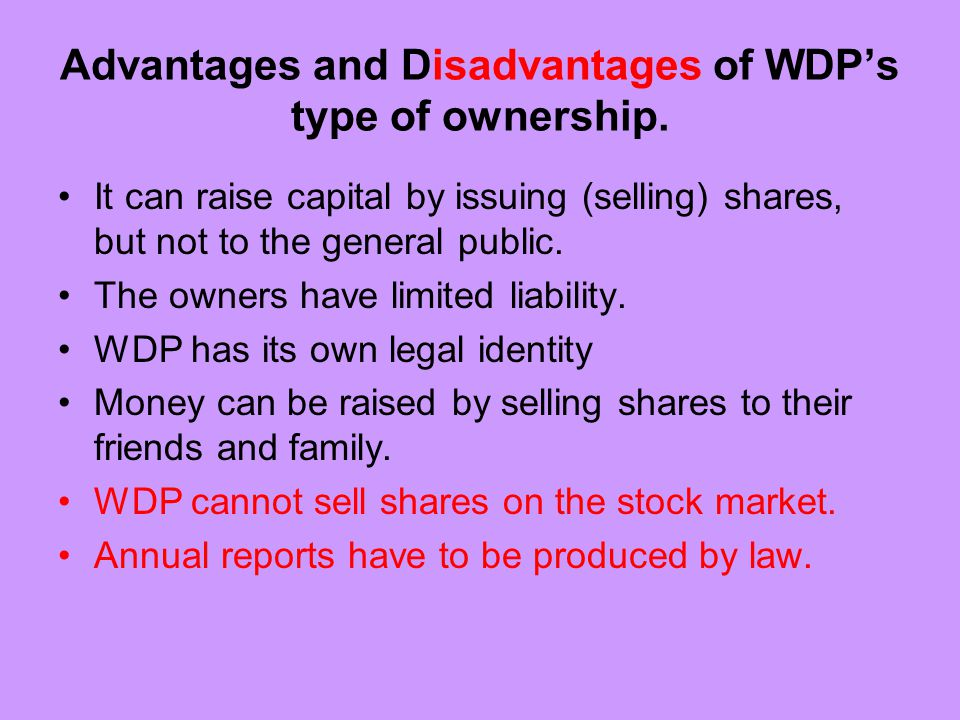 Advantages and Disadvantages of WDP's type of ownership.