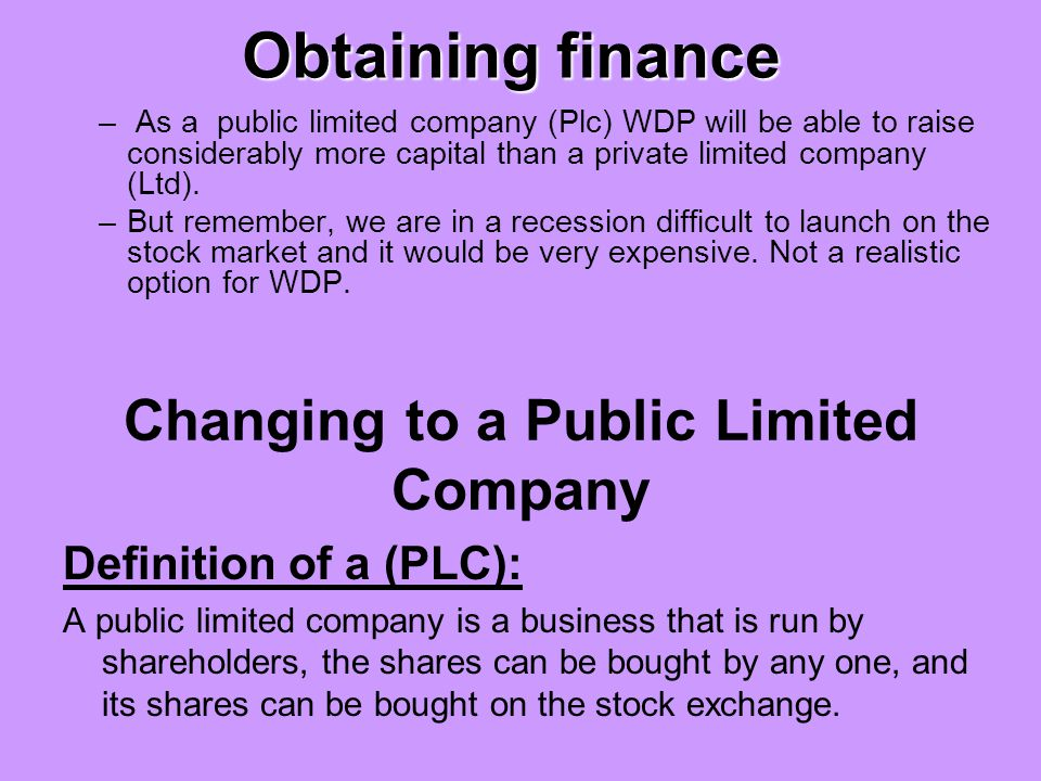 Changing to a Public Limited Company