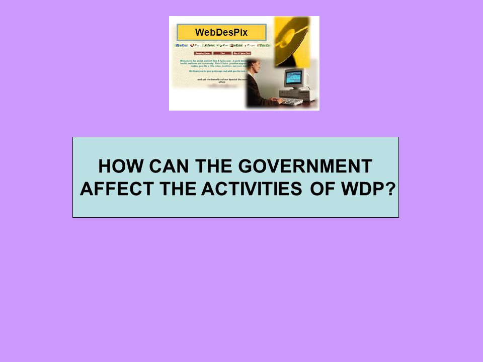 HOW CAN THE GOVERNMENT AFFECT THE ACTIVITIES OF WDP