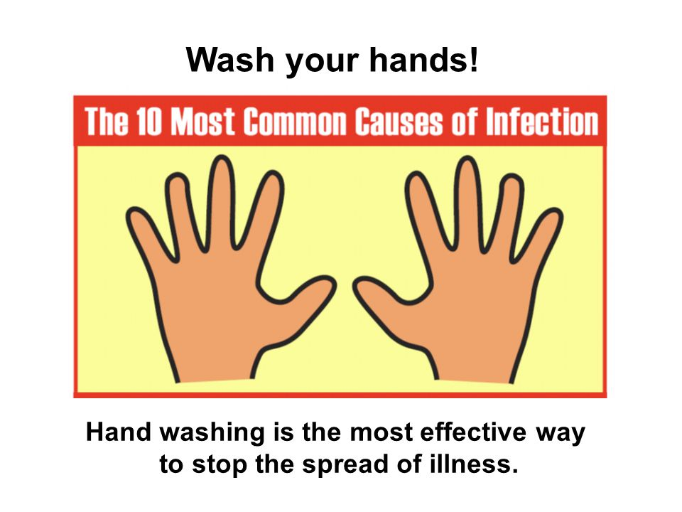Hand washing is the most effective way to stop the spread of illness.