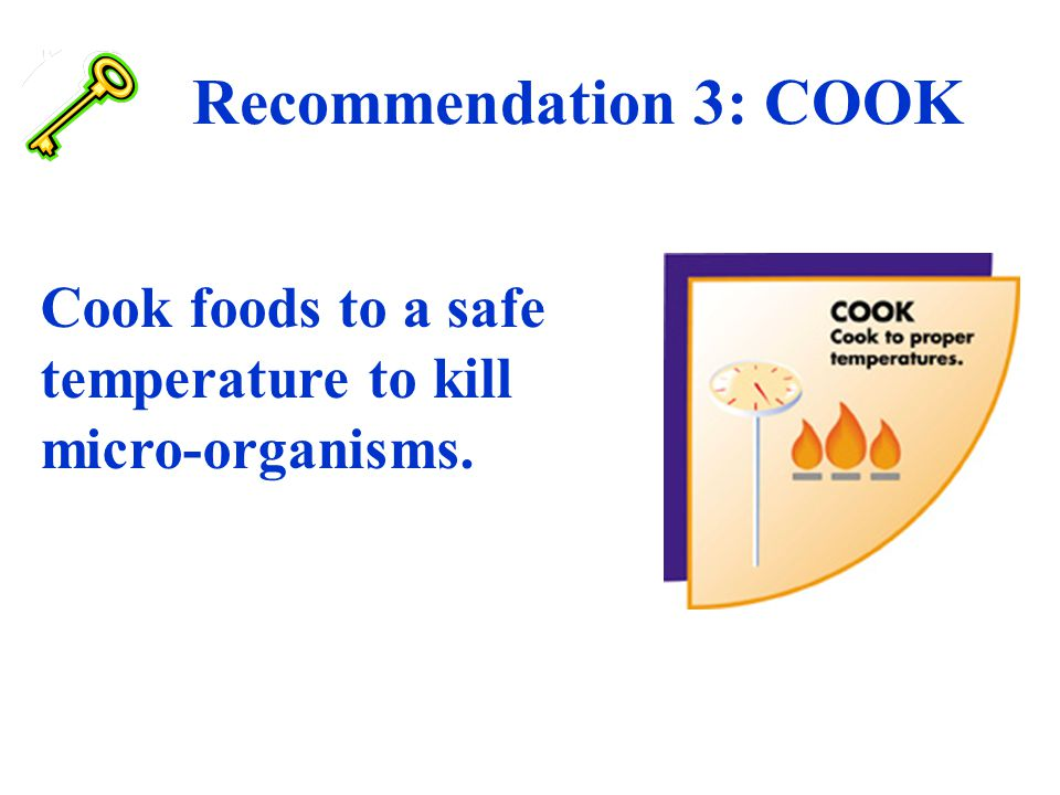 Recommendation 3: COOK Cook foods to a safe temperature to kill micro-organisms.