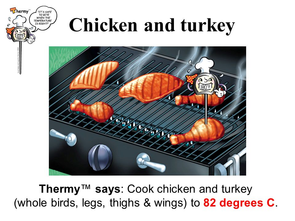 Chicken and turkey Thermy™ says: Cook chicken and turkey (whole birds, legs, thighs & wings) to 82 degrees C.