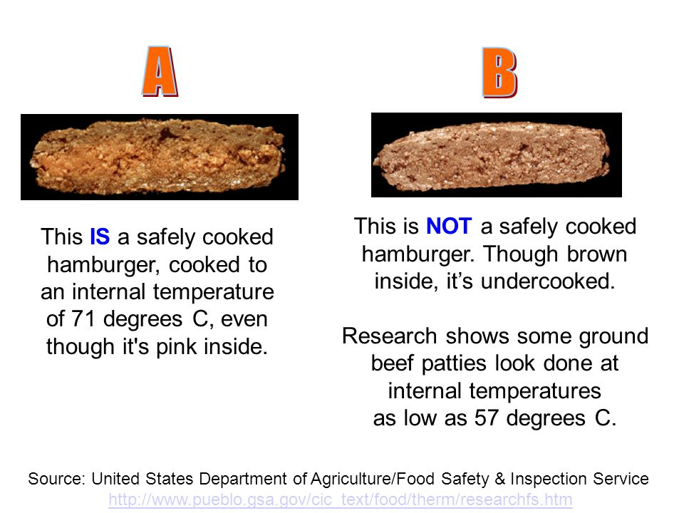 A B. This is NOT a safely cooked hamburger. Though brown inside, it's undercooked.