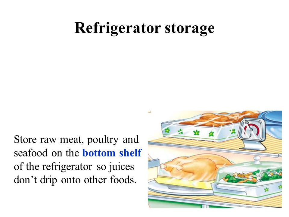 Refrigerator storage Store raw meat, poultry and seafood on the bottom shelf of the refrigerator so juices don't drip onto other foods.