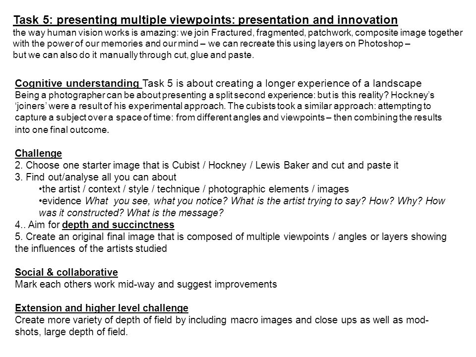 Task 5: presenting multiple viewpoints: presentation and innovation