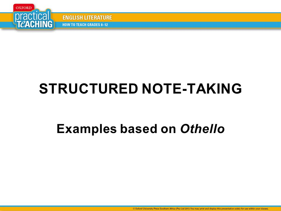 STRUCTURED NOTE-TAKING
