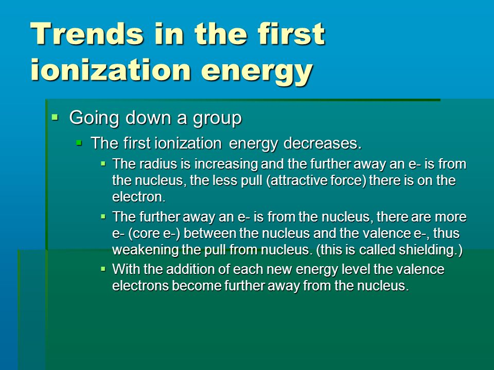 Trends in the first ionization energy