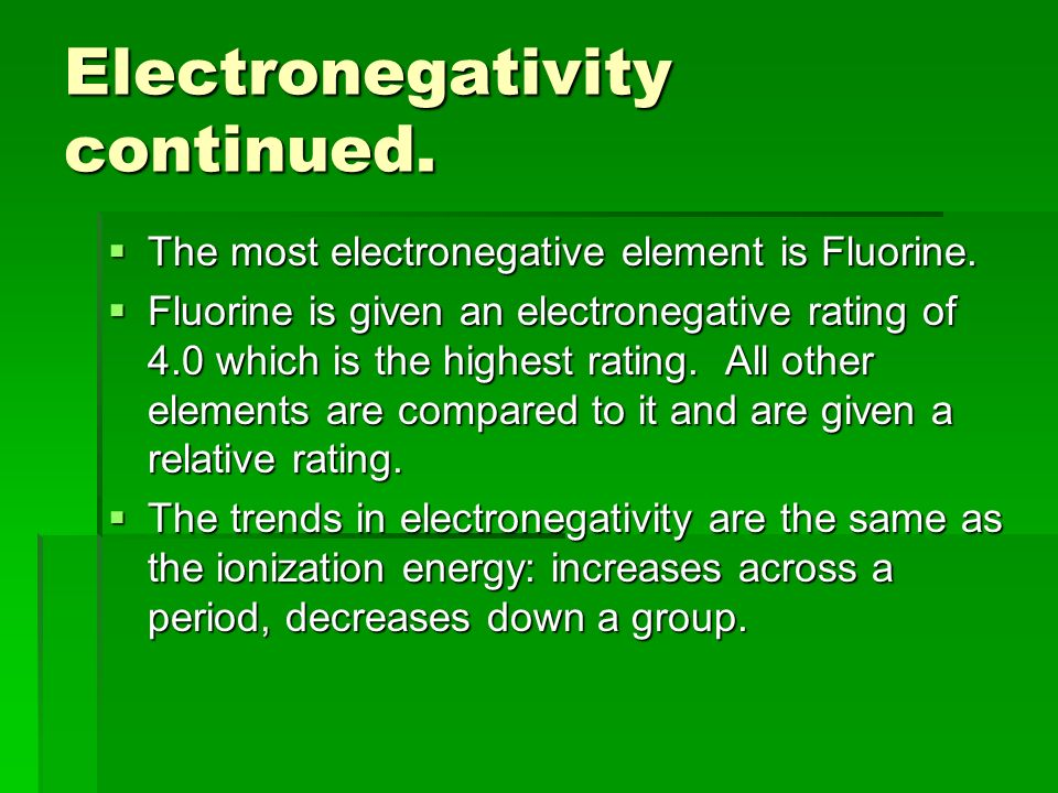 Electronegativity continued.