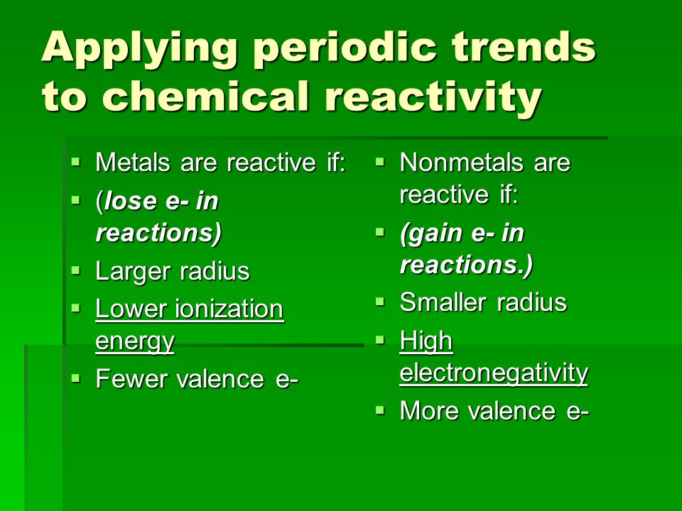 Applying periodic trends to chemical reactivity