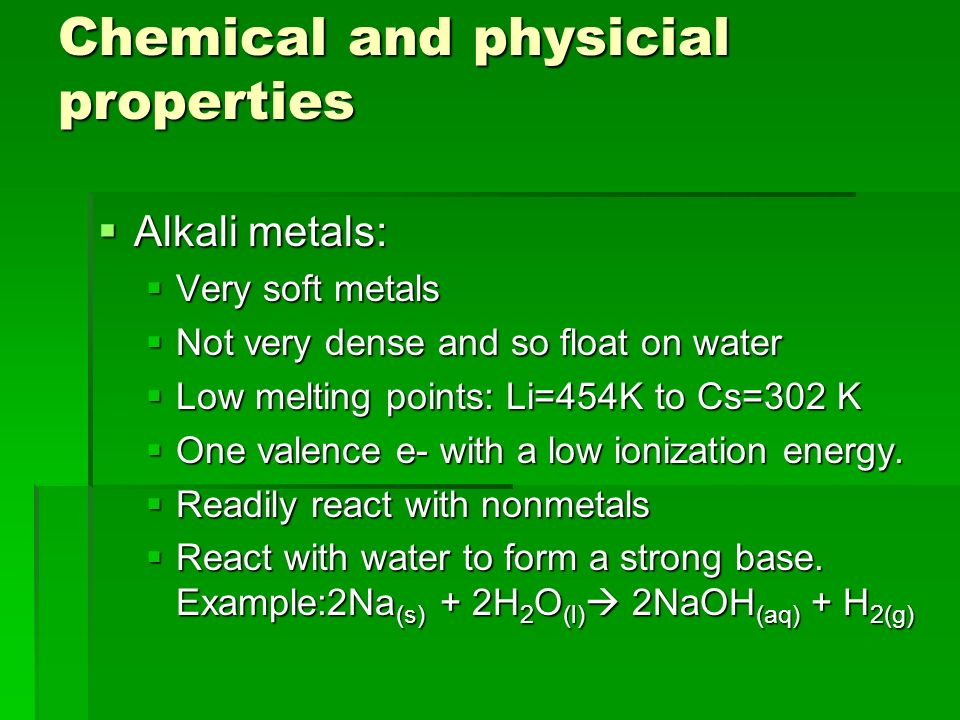 Chemical and physicial properties