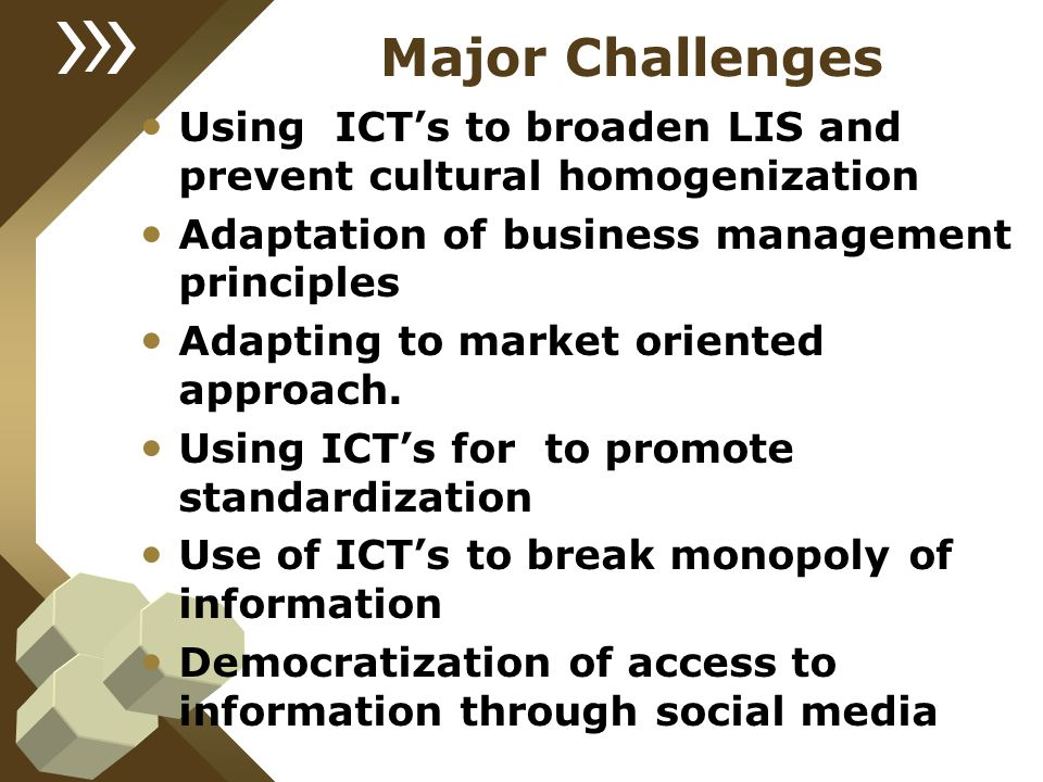 Major Challenges Using ICT's to broaden LIS and prevent cultural homogenization. Adaptation of business management principles.